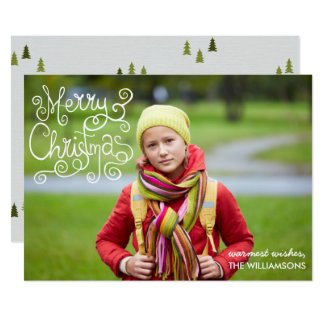 Whimsical Christmas Calligraphy Swirl Your Photo Card
