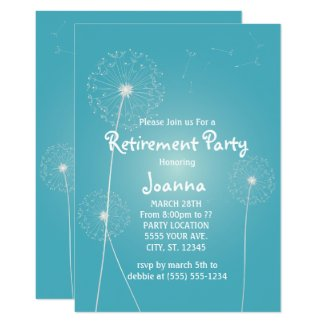 Teal Dandelion, Retirement Party Invitations