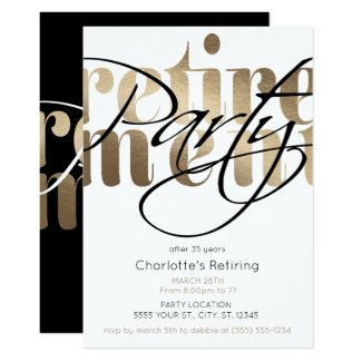 Golden Glam Retirement Party Invitations
