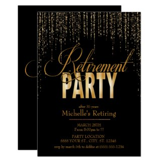 Gold and Black Retirement Party Invitations