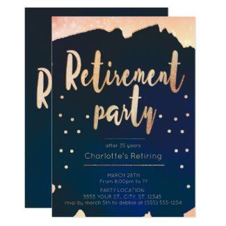 Gold & Navy Retirement Party Invitations