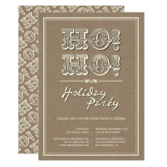 Classic Vintage Kraft HO! HO! Holiday Party Invite