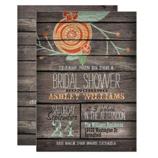 Orange and Mint Green Rustic Wood Bridal Shower Card