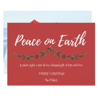 Peace On Earth Red Holly Photo Christmas Card