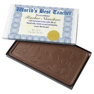 World's Best Teacher Certificate Milk Chocolate Bar
