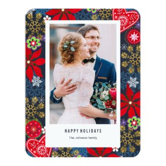 Christmas Holiday | Flowers & Snow | Photo Card