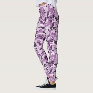 Girly Pink / Purple Woodland Camouflage Pattern Leggings