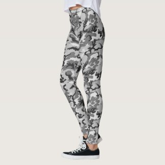 Urban Woodland Camouflage Military Pattern Leggings