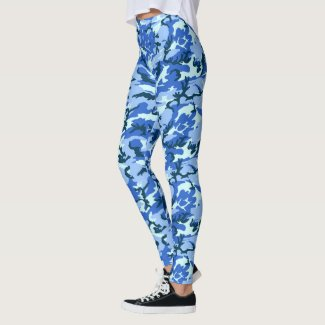 Blue Woodland Camouflage Military Pattern Leggings