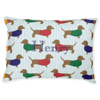 Cartoon Dachshunds on Blue and White Stripes Dog Bed