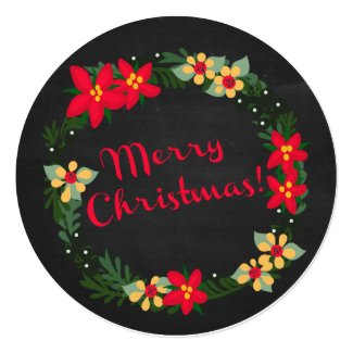 Poinsettia on Chalkboard, Merry Christmas! Round Card