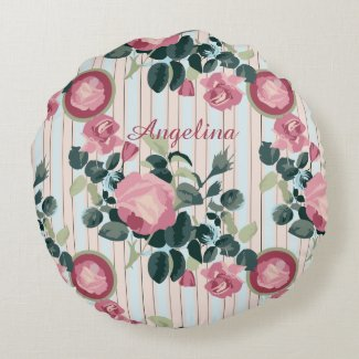 Pink Roses Illustration Blue Peach Stripes Pattern Round Pillow