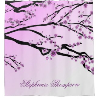 Cute Girly Pink Cherry Blossom Tree Flowers Name Shower Curtain