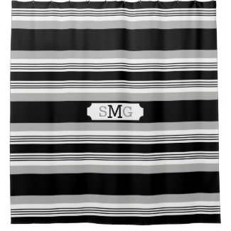 Gray,Black And White Striped Monogram Initial Shower Curtain