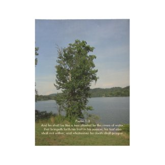 Psalms Verse with River Image Wood Poster