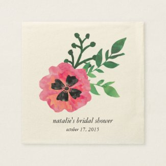 Pink Floral Bridal Shower Napkins
