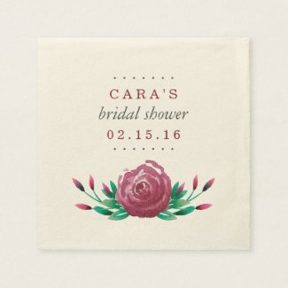 Watercolor Garden Roses Bridal Shower Paper Napkin