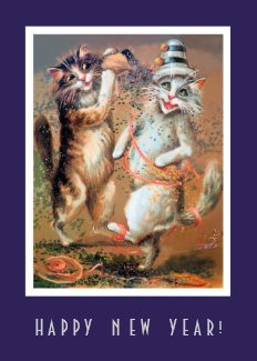 Funny Happy New Year Partying Cats Card