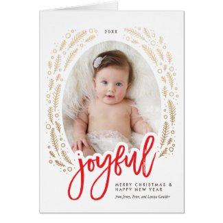Joyful Frame Red & Gold Calligraphy Christmas Card