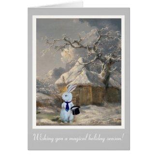 Magical Christmas White Rabbit Customizable Card