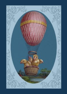 Vintage Easter Card - Easter Chicks in Balloon