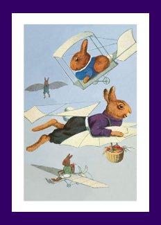 High-Flying Easter Bunnies -Vintage Easter Rabbit Card