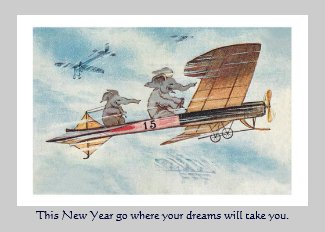 Funny Animals Vintage New Year's Holiday Card