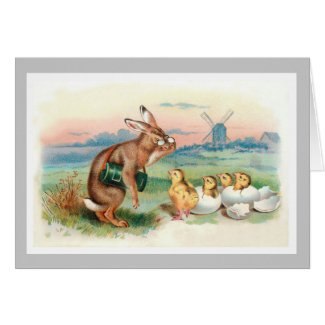 Vintage Easter Rabbit Card - Rabbit with Chicks