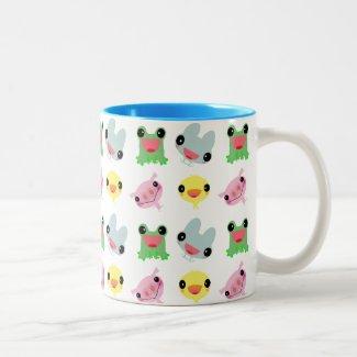 cute kawaii happy chick frog pig bunny Two-Tone coffee mug