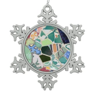 Park Guell mosaics Snowflake Pewter Christmas Ornament