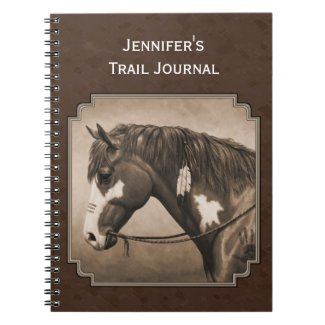 Native American Pinto War Horse in Sepia Notebook