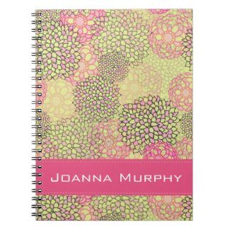 Modern Trendy Floral Pattern Personalized Spiral Notebook