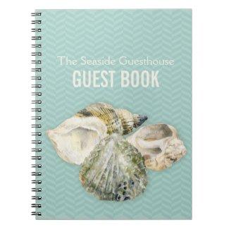 Sea shells art & chervon aqua guest book notebook