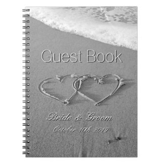 Romantic hearts in sand beach wedding guest book notebook