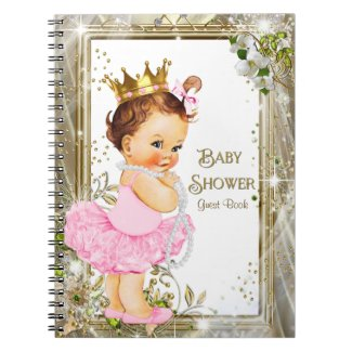 Ballerina Tutu Princess Baby Shower Guest Book Spiral Notebook