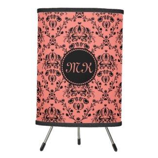 Monogrammed Elegant Black Girly Damask Coral Pink Desk Lamp
