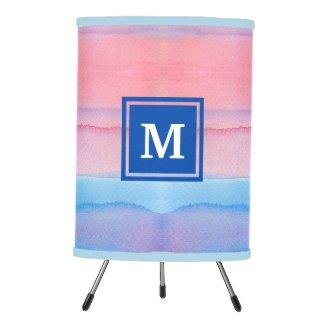 Monogram Watercolor Blue Pink Ombre Gradation Tripod Lamp