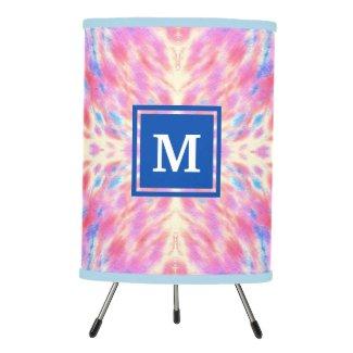 Monogram Watercolor Pink Blue Floral Fireworks Tripod Lamp