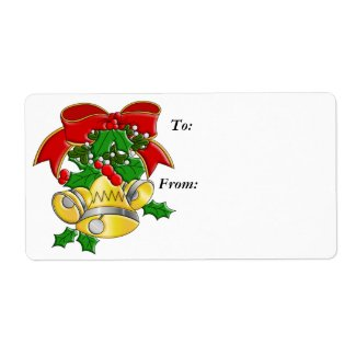 Christmas Bells Gift Tag Label