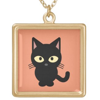 Black Kitten Pendant Necklace