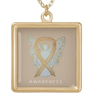 Gold Awareness Ribbon Angel Jewelry Necklace