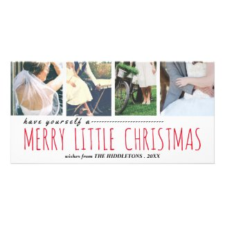 Merry Liitle Christmas Script Four Photo Collage Card