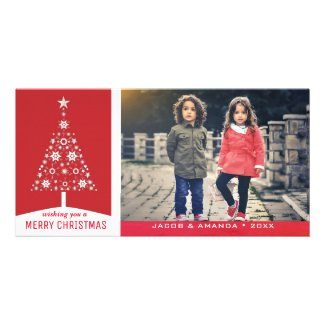 Elegant Simple Red Christmas Tree | Holiday Photo Card