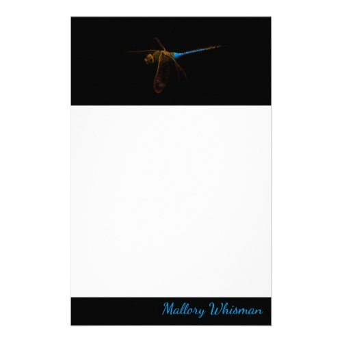 Dragonfly Personalized Black Borders Stationery