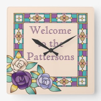 Stained Glass Hand-Drawn Roses Purple Peach Teal Square Wall Clock