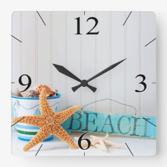 Starfish Beach Tropical Summer Square Wall Clock