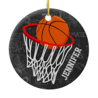 Personalized Chalkboard Basketball and Hoop Ceramic Ornament