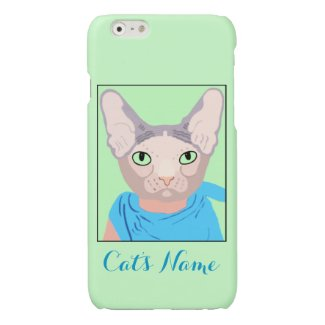 Sphinx Cat In A Blue Bandana Green Eyes Name Glossy iPhone 6 Case