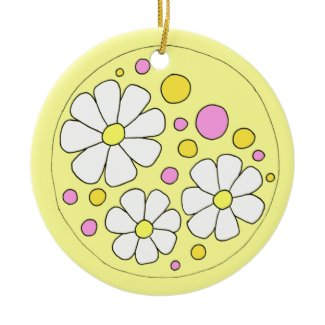 Retro Daisy Flowers with Name Ceramic Ornament