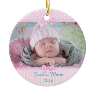 Personalized Pink Photo Christmas Ornament